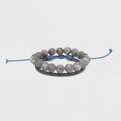 Men's Matte Spectralite Bolo Beaded Bracelet - Goodfellow & Co™ Navy/Gray One Size - image 1 of 1