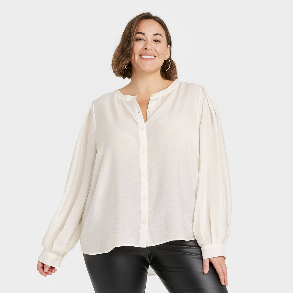 Women 39 S Plus Size Long Sleeve Button Down Femme Top A New Day 8482 Cream 3x