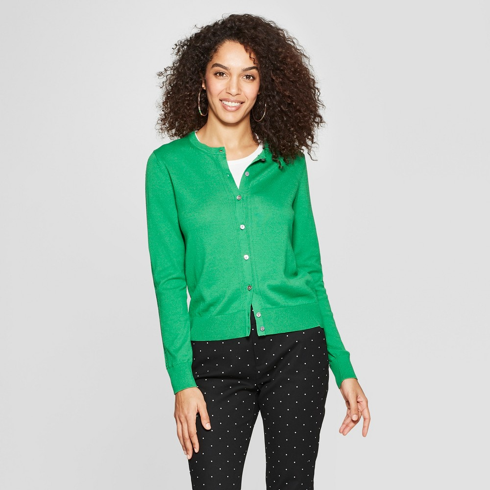 Women's Long Sleeve Crewneck Cardigan - A New Day Green L