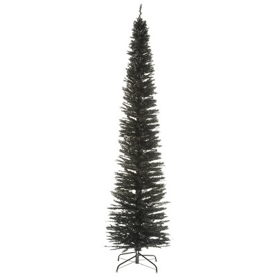 9ft  National Christmas Tree Company Black Tinsel Slim Artificial Christmas Tree