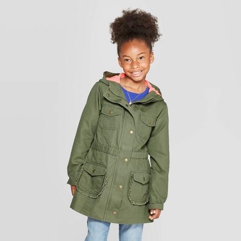 Girls' Twill Jacket - Cat & Jack™ Green - image 1 of 3