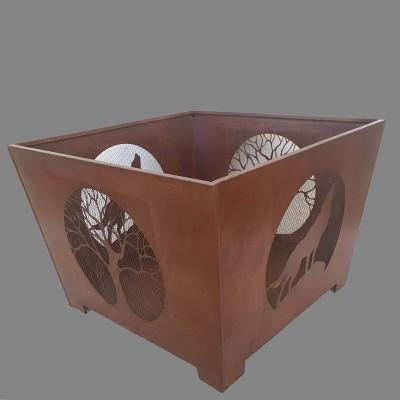 Laser Cut Wolf Fire Basket - Esschert Design