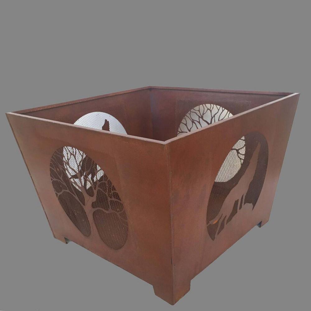 Image of Laser Cut Wolf Fire Basket - Esschert Design