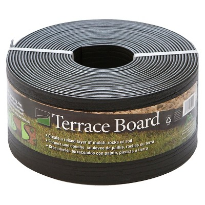 "5"" x 40' Terrace Board Lawn & Garden Edging Black With 10 stakes - Black - Master Mark Plastics"