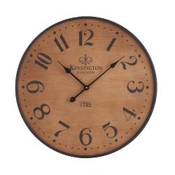 "26"" Wood Wall Clock Pine Finish Black - Threshold™"