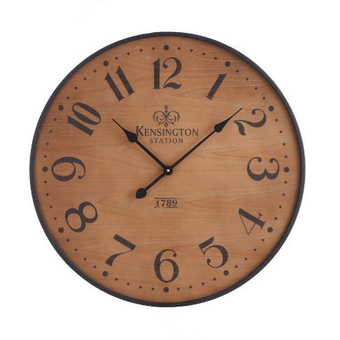 "26"" Wood Wall Clock Pine Finish Black - Threshold™ - image 1 of 2"
