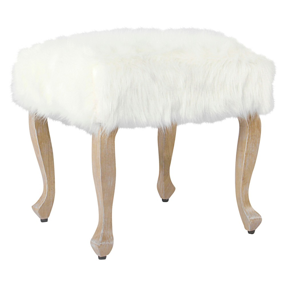 Faux Fur Ottoman with Wood Legs - White - Homepop was $94.99 now $71.24 (25.0% off)