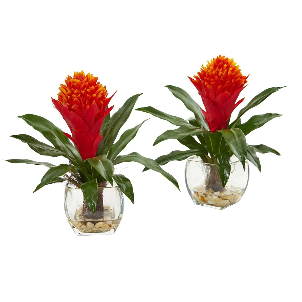 "Image of ""11"""" x 11"""" 2pc Artificial Bromeliad Plant in Vase Set Red/Green - Nearly Natural"""