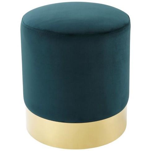 Jason Green Velvet Round Ottoman - Gold Metal Base - Upholstered in Green - Posh Living - image 1 of 3