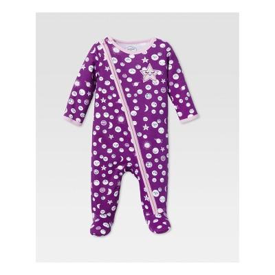 Lamaze Baby Girls' Organic Star & Moon Asymmetrical Zip Sleep N Play - Purple 9M
