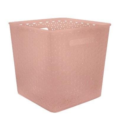"11"" Y Weave Decorative Bin Peach - Room Essentials™"