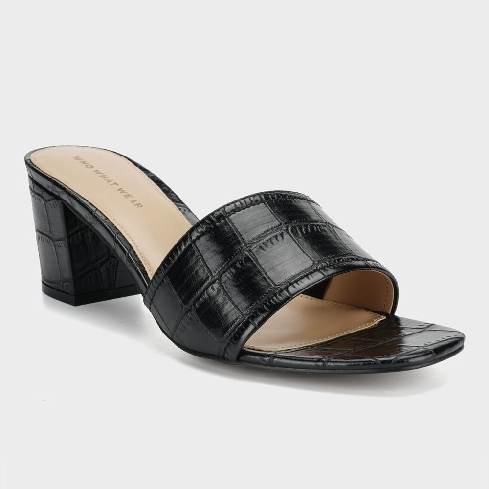 Women's Kalyn Croc Heeled Mules - Who What Wear Black 12