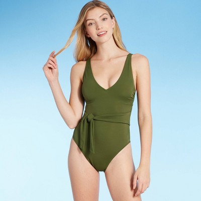 Women's Plunge Tie-Front Wrap One Piece Swimsuit - Shade & Shore™