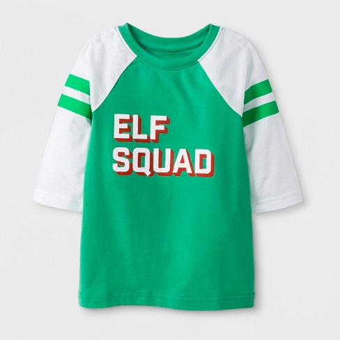 Toddler 3/4 Sleeve 'Elf Squad' T-Shirt - Cat & Jack™ Green 18 M - image 1 of 2