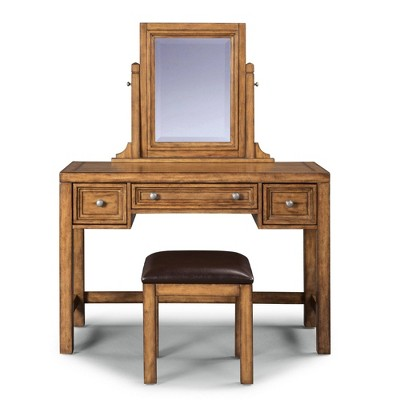 Sedona Vanity & Mirror with Bench Toffee Brown - Home Styles