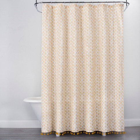 Diamond Print With Pom Fringe Shower Curtain Yellow Opalhouse Target