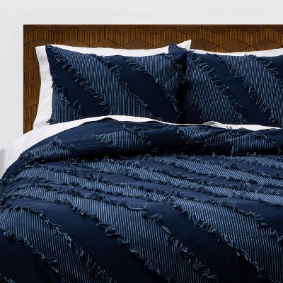 Indigo Diagonal Textured Duvet & Sham Set - Opalhouse™