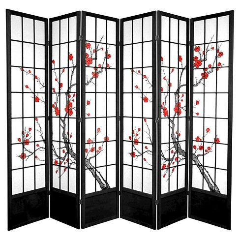 7 Ft Tall Cherry Blossom Shoji Screen Black 6 Panels Target
