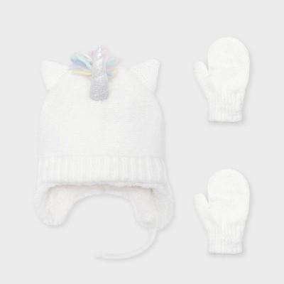 Baby Girls' Knit Unicorn Trapper and Magic Mittens Set - Cat & Jack™ Cream 12-24M