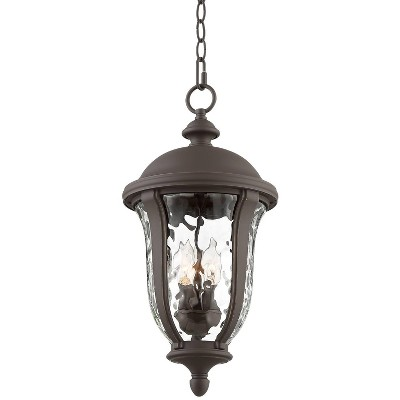 """John Timberland Traditional Outdoor Ceiling Light Hanging Bronze 20"""" Clear Hammered Glass for Exterior House Porch Patio Deck"""