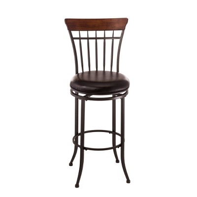 "30"" Cameron Swivel Vertical Spindle Barstool Metal/Brown - Hillsdale Furniture"