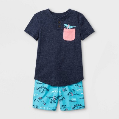 Toddler Boys' 2pc Dino Short Sleeve Graphic T-Shirt and Woven Shorts Set - Cat & Jack™ Navy
