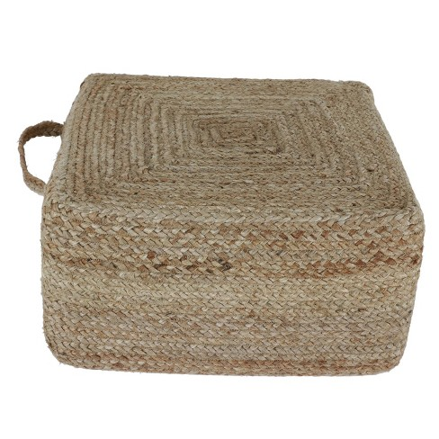 Sanibel Woven Square Pouf Natural - Décor Therapy - image 1 of 4