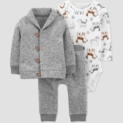 Baby Boys' 3pc Top & Bottom Set - Just One You® made by carter's Gray 9M