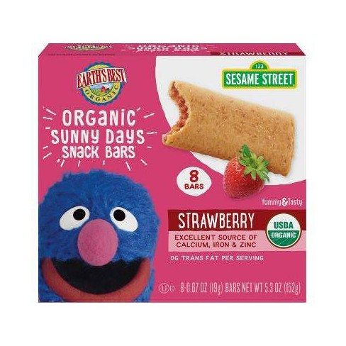 Earth's Best Sesame Street Organic Sunny Days Strawberry Snack Bars - 8ct/0.67oz Each - image 1 of 3