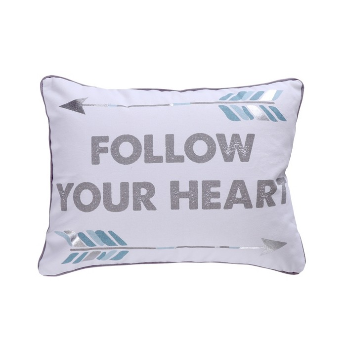 14x18 Adia Follow Your Heart Pillow Gray - Homthreads - image 1 of 3