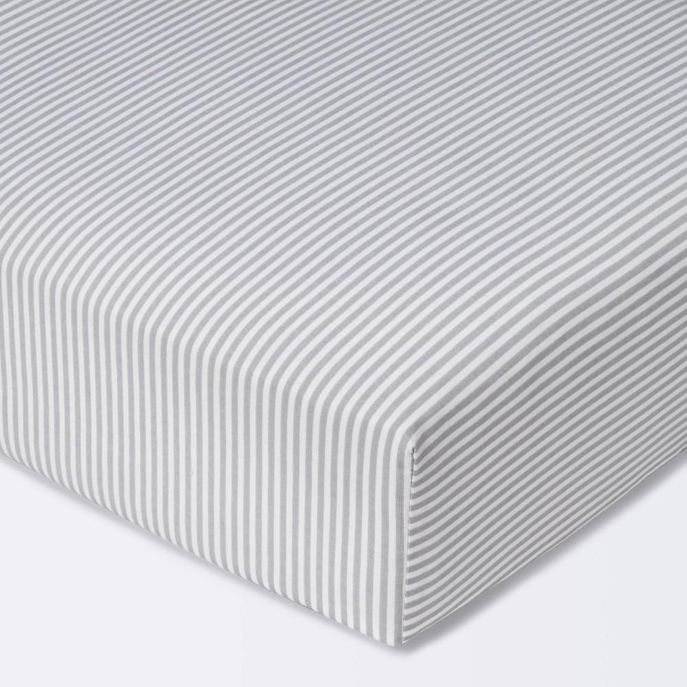 Fitted Crib Sheet Stripe Cloud Island 8482 White Gray