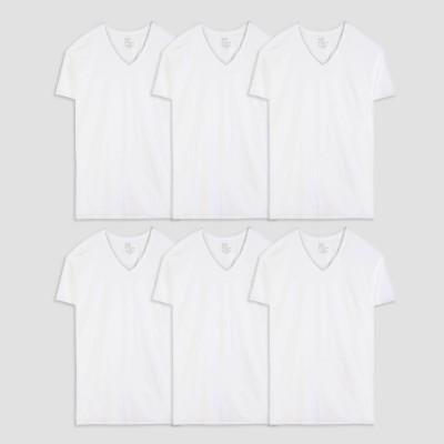 Fruit of the Loom Men's Tall V-Neck Undershirt - White