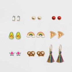 Girls' 9pk Pack Pizza and Avocado Earring Set - Cat & Jack™