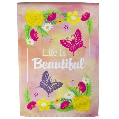 "Northlight Life is Beautiful Pink Floral Outdoor Garden Flag 12.5"" x 18"""