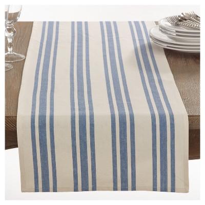 Blue Dauphine Striped Design Table Runner (16 x72 )- Saro Lifestyle®