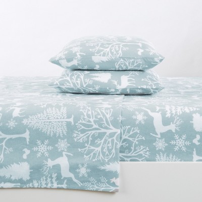 Great Bay Home 100% Cotton Flannel Enchanted Woods Printed Sheet Set