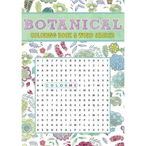 Botanical Coloring Book & Word Search - (Paperback)