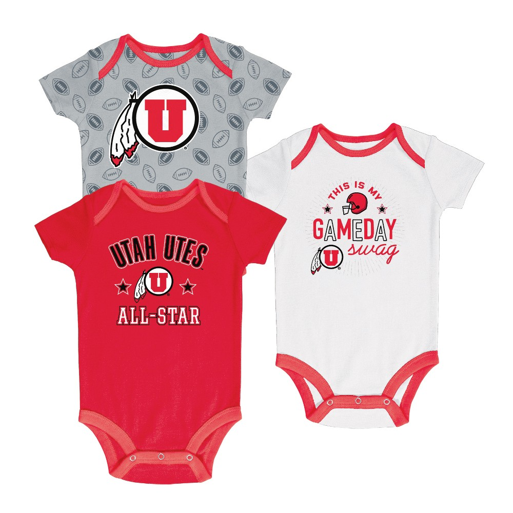 Utah Utes Baby Boy Short Sleeve 3pk Bodysuit - 6-9M, Multicolored