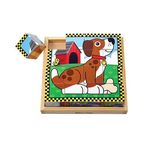 8b55990d591c Melissa   Doug® Pets Wooden Cube Puzzle With Storage Tray (16pc)   Target