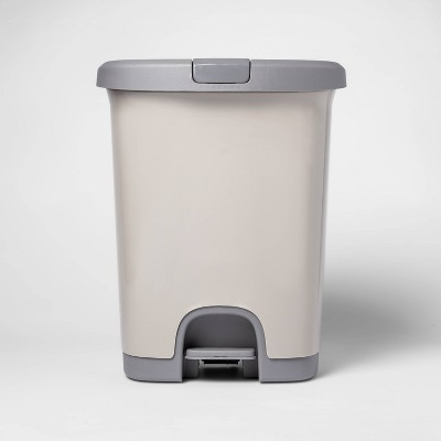 7gal Step Trash Can with Locking Lid Gray - Room Essentials™