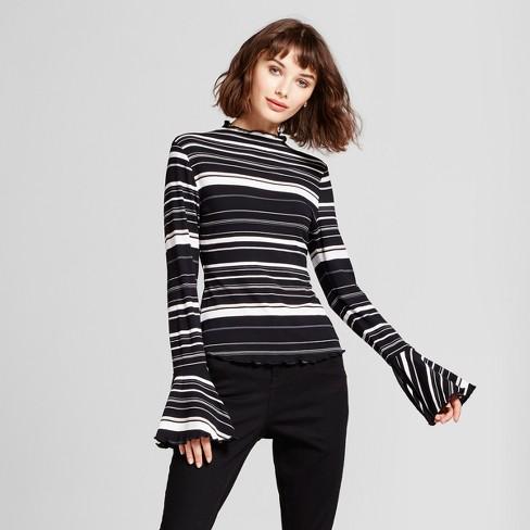 Women's Striped Bell Sleeve Mock Neck Long Sleeve T-Shirt - Mossimo™ XXL Black/White - image 1 of 2