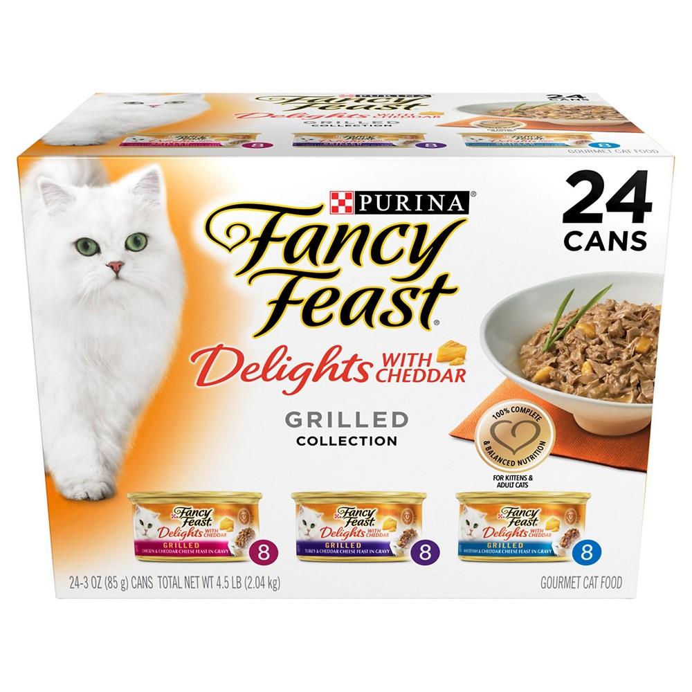 Purina Fancy Feast Delights (Cheddar Grilled Varieties) - Wet Cat Food - 3oz / 24pk, Antler