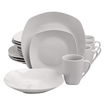 Gibson 127253.16R Elegant White Porcelain 16 Piece Dinnerware Set Plates, Bowls, and Mugs, Classic Pearl
