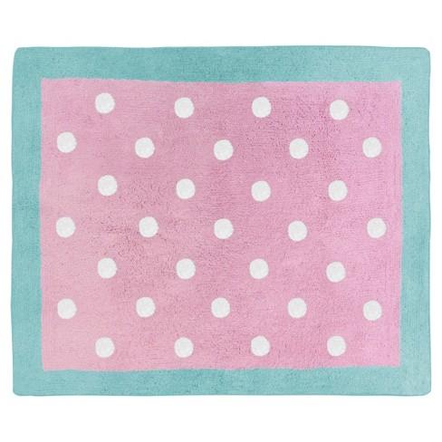 Turquoise & Pink Polka Dot Rug (2'x3