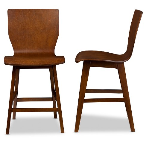 Super Set Of 2 Elsa Mid Century Modern Scandinavian Style Bent Wood Counter Stool Walnut Dark Brown Baxton Studio Ncnpc Chair Design For Home Ncnpcorg