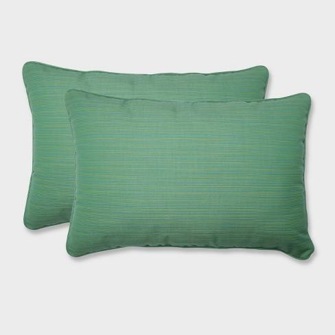 2pk Oversize Dupione Paradise Rectangular Throw Pillows Green - Pillow Perfect - image 1 of 2