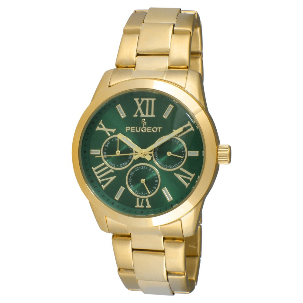 Women's Peugeot Round Stainless Steel Multifunction Bracelet Watch - Gold and Green, Gold/Green This dress timepiece features an analog time display. Color: Gold/Green. Gender: Female. Age Group: Adult.