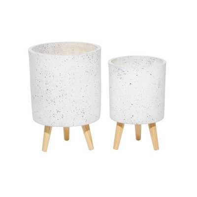 Set of 2 Contemporary Wood Cylindrical Planters - Olivia & May