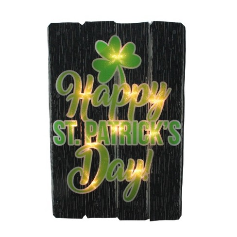 """Impact Innovations 16"""" Lighted Shimmering Happy St. Patrick's Day Shamrock Window Silhouette Decoration - image 1 of 3"""