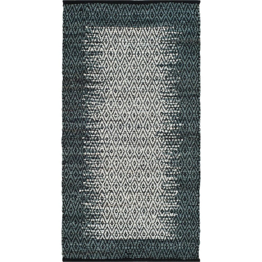 2'3X4' Geometric Woven Accent Rug Light Gray/Charcoal (Light Gray/Grey) - Safavieh